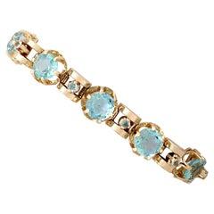 1930s Antique 18.18 Carat Aquamarine and Yellow Gold Bracelet