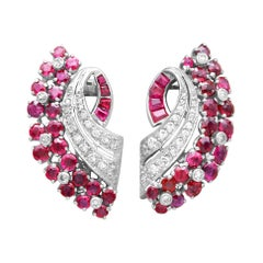 1930s Antique 1.86 Carat Ruby and 0.55 Carat Diamond White Gold Earrings
