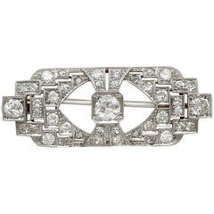 1930s Antique 2.23 Carat Diamond and White Gold Brooch