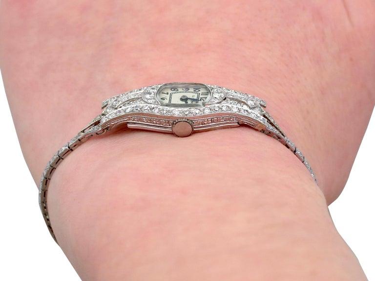 1930s Antique 2.36 Carat Diamond and Platinum Glycine Cocktail Watch For Sale 5