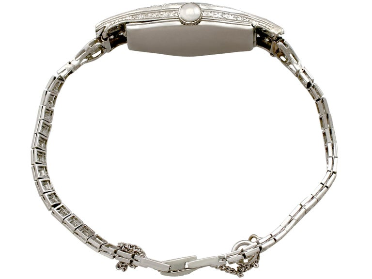 A fine and impressive antique diamond watch in the Art Deco style, with 2.36 carat (total) diamonds set in platinum; part of our antique watch and diamond jewelry collections  This stunning antique diamond watch has been crafted in platinum.  The