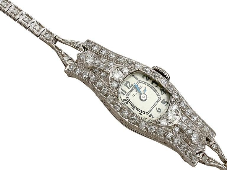 Round Cut 1930s Antique 2.36 Carat Diamond and Platinum Glycine Cocktail Watch For Sale
