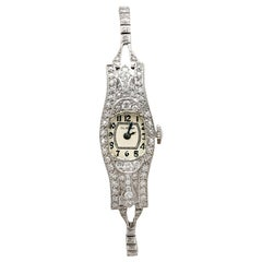 1930s Antique 2.36 Carat Diamond and Platinum Glycine Cocktail Watch