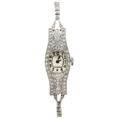1930s Antique 2.36 Carat Diamond and Platinum Glycine Cocktail Watch