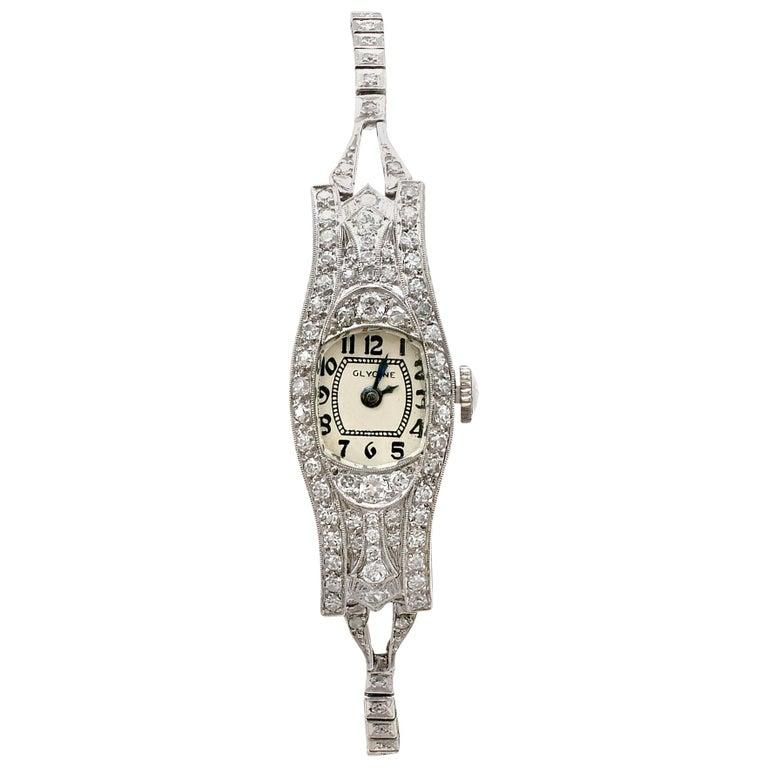 1930s Antique 2.36 Carat Diamond and Platinum Glycine Cocktail Watch For Sale