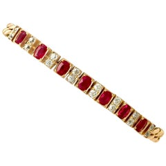 1930s Antique 3.30 Carat Ruby and 1.00 Carat Diamond Yellow Gold Line Bracelet