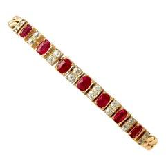 1930s Antique 3.30 Carat Ruby and 1.00 Carat Diamond Yellow Gold Line Bracelet