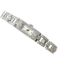 1930s Antique 3.40 Carat Diamond and Platinum Cocktail Watch