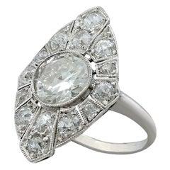 1930s Antique 3.60 Carat Diamond and Platinum Marquise Ring