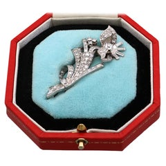 1930s Antique 3.67 Carat Diamond and Platinum Floral Brooch Art Deco