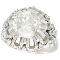 1930s Antique 4.31 Carat Diamond and Platinum Cluster Ring