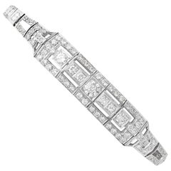1930s Antique 4.46 Carat Diamond and Platinum Bracelet