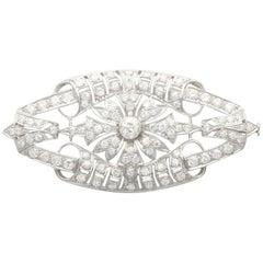 1930s Antique 4.65 Carat Diamond and Platinum Plaque Brooch
