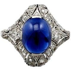 1930s Antique 5.21 Carat Sapphire and Diamond Platinum Cocktail Ring