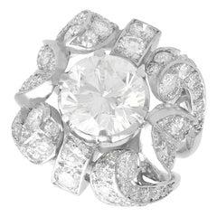 1930s Antique 6.08 Carat Diamond and Platinum Dress Ring - Art Nouveau
