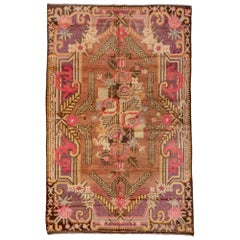 1930s Antique Art Deco Style Khotan Rug, Brown Field, Pink Purple Accents