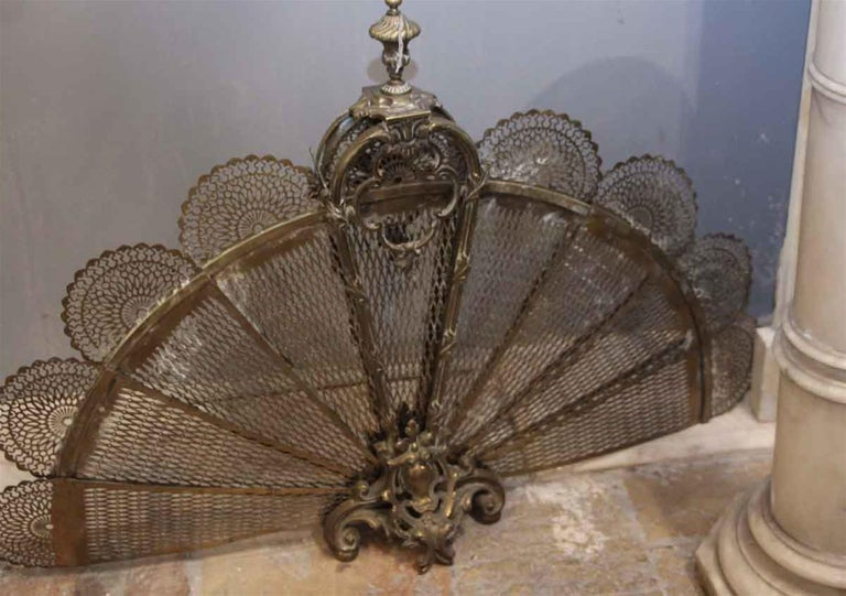 1930s Antique Brass Fan Fireplace Screen With Figural And