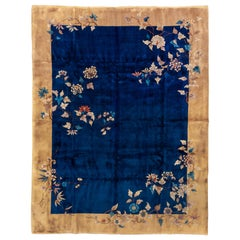 1930s Antique Chinese Art Deco Peking Rug, Navy Field, Gold Borders