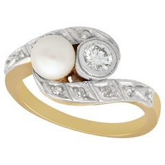 1930s Antique Diamond and Pearl Yellow Gold Twist Ring