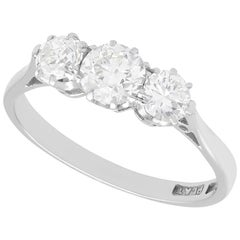 1930s Antique Diamond and White Gold and Platinum Set Trilogy Ring
