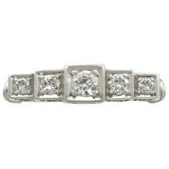 1930s Antique Diamond and White Gold Five-Stone Ring