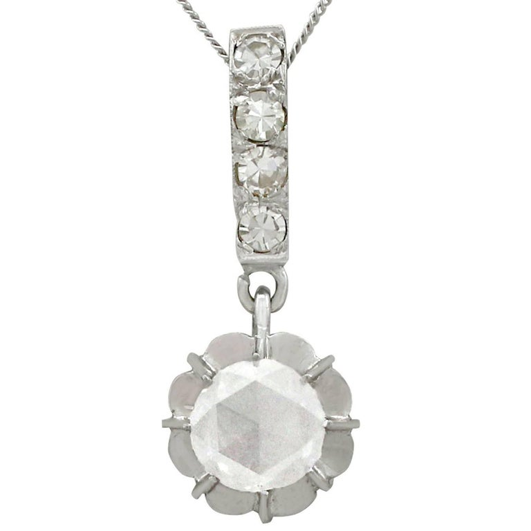 1930s Antique Diamond and White Gold Pendant