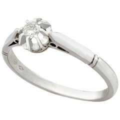 1930s Antique Diamond and White Gold Solitaire Ring