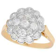 1930s Antique Diamond and Yellow Gold Cluster Ring