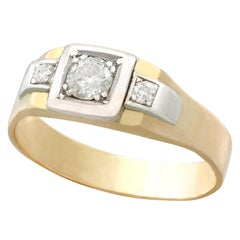 1930s Antique Diamond and Yellow Gold Platinum Set Dress Ring