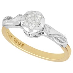 1930s Antique Diamond and Yellow Gold Platinum Set Solitaire Ring