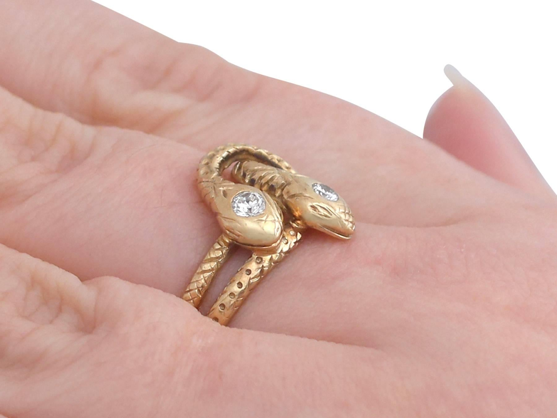 1930s Antique Diamond and Yellow Gold Snake Ring at 1stdibs