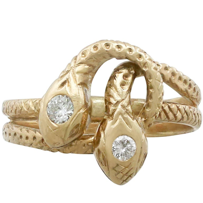 1930s Antique Diamond and Yellow Gold Snake Ring