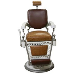 1930s Antique Emil J Paider Brown Barber Chair with Leather and Vinyl Upholstery