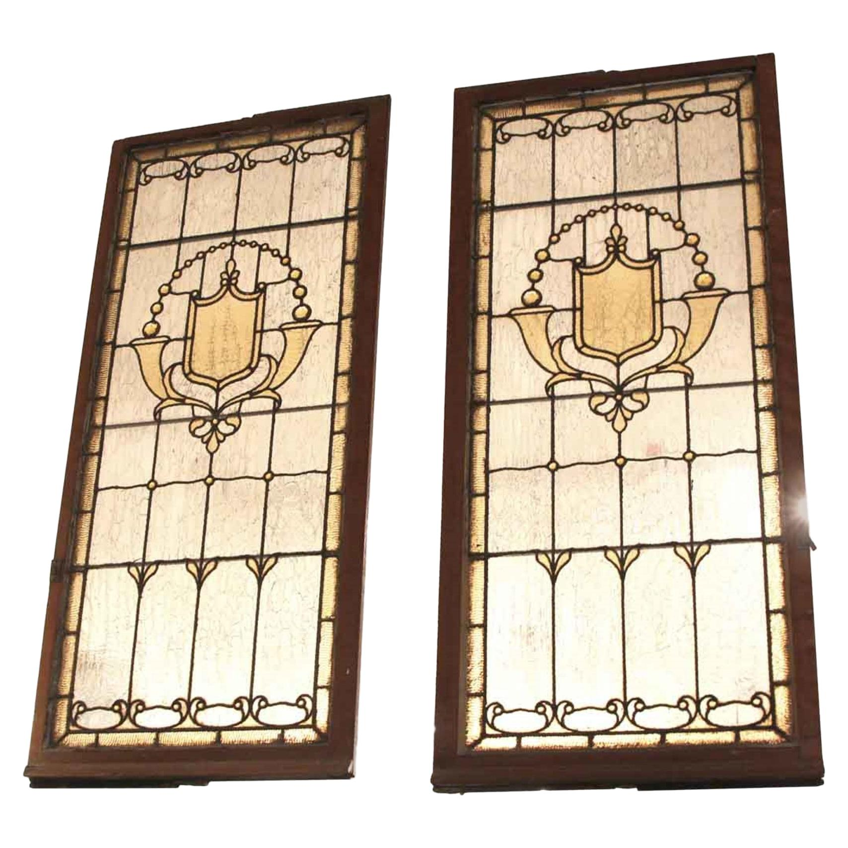 1930s Antique Pair of Jeweled Stained Glass Windows Amber with Shield Motif