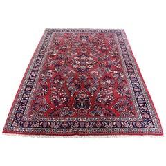 "1930s Antique Persian Sarouk 300 Kpsi Pure Wool Oriental Rug - 4'4"" x 7'1"""