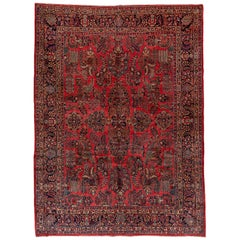 1930s Antique Persian Sarouk Rug, Allover Red Field