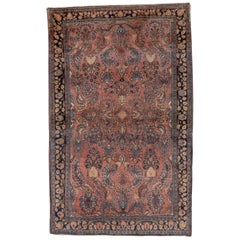 1930s Antique Persian Sarouk Rug with a Salmon Field, American Sarouk Style