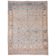 1930s Antique Persian Tabriz Rug, Ivory Allover Field, Orange Outer Borders