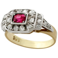 1930s Antique Ruby Diamond Gold Cocktail Ring