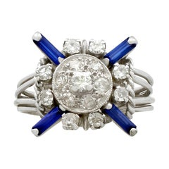 1930s Antique Sapphire and Diamond Platinum Cocktail Ring