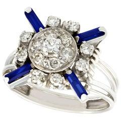1930s Antique Sapphire and Diamond Platinum Cocktail Ring