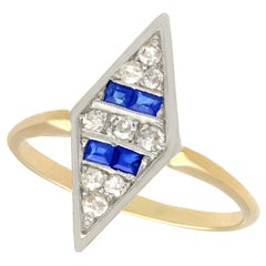 1930s Antique Sapphire and Diamond Yellow Gold Dress Ring