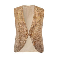 1930s Antique Silk Indian Waistcoat With Gold Brocade