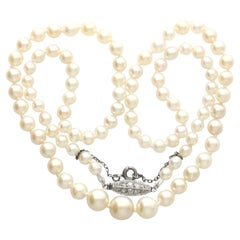 1930s Antique Single Strand Natural Pearl Necklace with Diamond Set Clasp