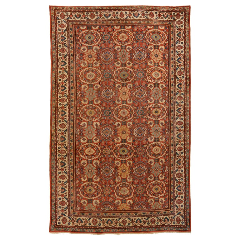 Oval Shape Persian Tabriz Novinfar 7x10 Area Rug: 1930s Antique Sultanabad Persian Rug With Oval Floral