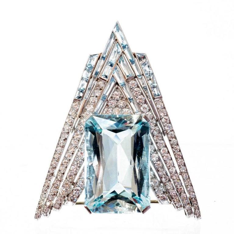 1930s Aquamarine and Diamond Chevron Clip Brooch