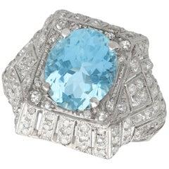 1930s Aquamarine and Diamond Platinum Dress Ring