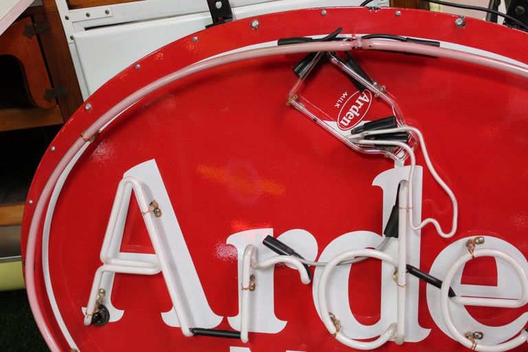 Mid-20th Century 1930s Arden Milk Neon Advertising Sign For Sale