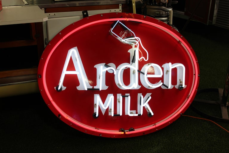 1930s Arden Milk Neon Advertising Sign For Sale 3