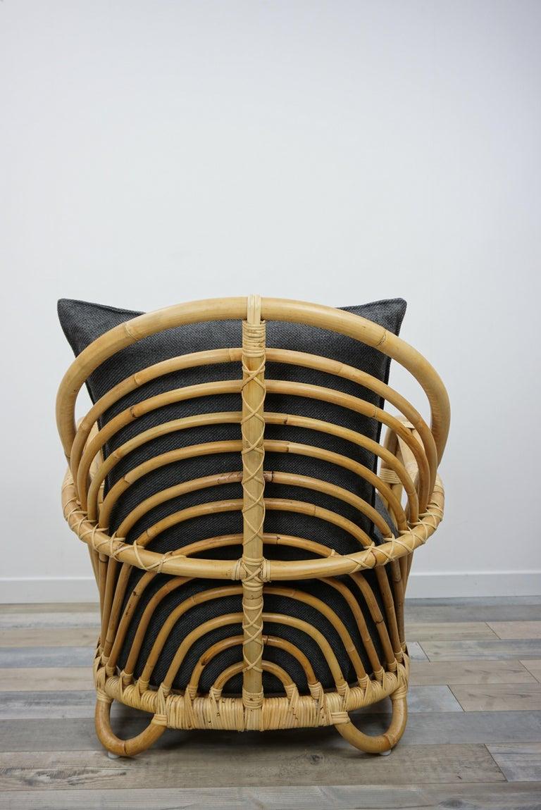 1930s Arne Jacobsen Design Rattan Lounge Armchair For Sale 2